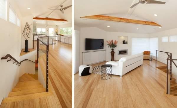 Дизайн мансардного этажа - фото совмещенной кухни гостиной