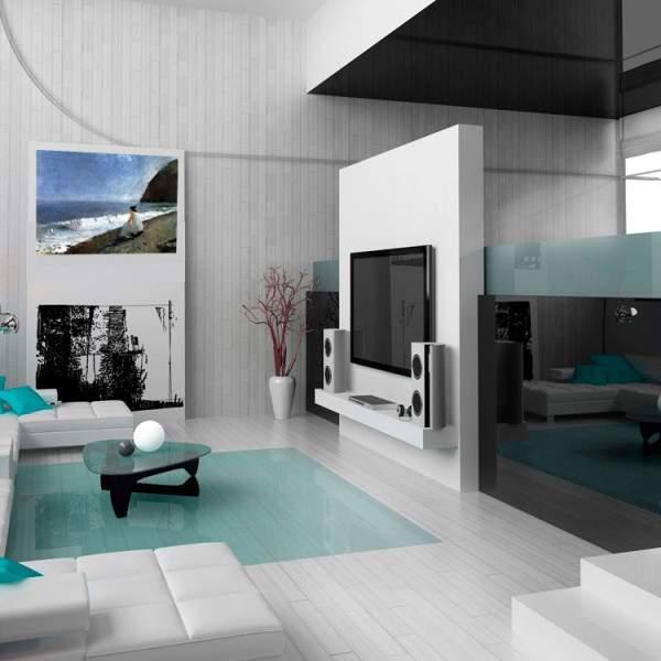 Небольшая гостиная в квартире в стиле хай тек - фото интерьера