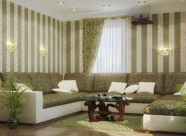 Дизайн гостиной в частном доме в белом и зеленом цветах