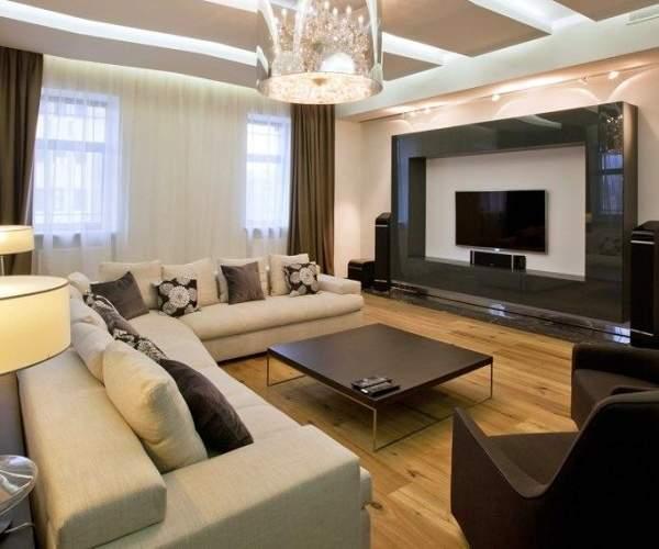 Дизайн современной гостиной в частном доме в черно-белом цвете