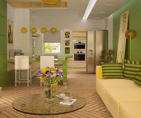Дизайн кухни гостиной в частном доме в современном стиле - идеи 2017