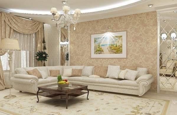 Классический дизайн гостиной в частном доме в белом и бежевом цветах