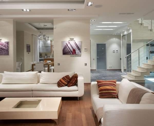 Интерьер кухни гостиной в дизайне современного частного дома