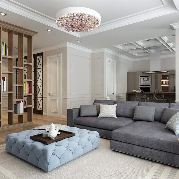 Стильный современный дизайн кухни гостиной прихожей в интерьере частного дома