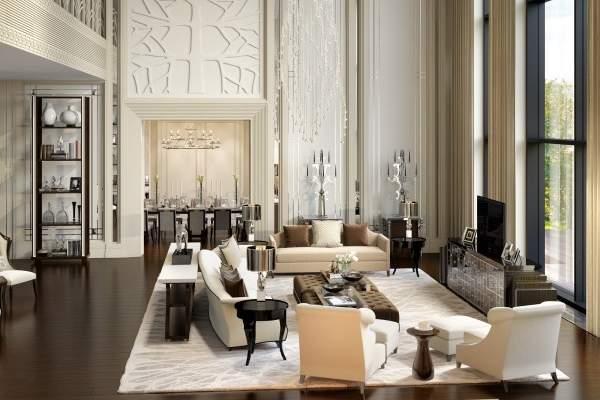 Роскошный дизайн гостиной в частном загородном доме