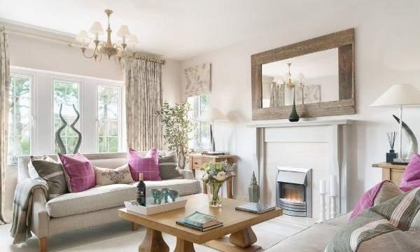 Интерьер зала в частном доме своими руками - дизайн с камином