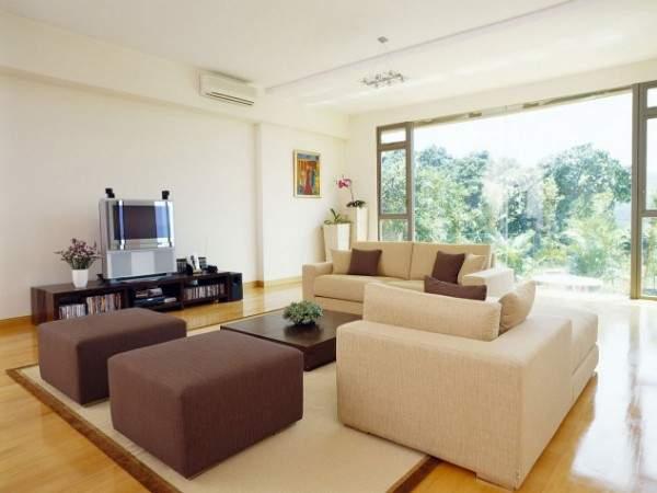 Дизайн маленького зала в частном доме в стиле минимализм