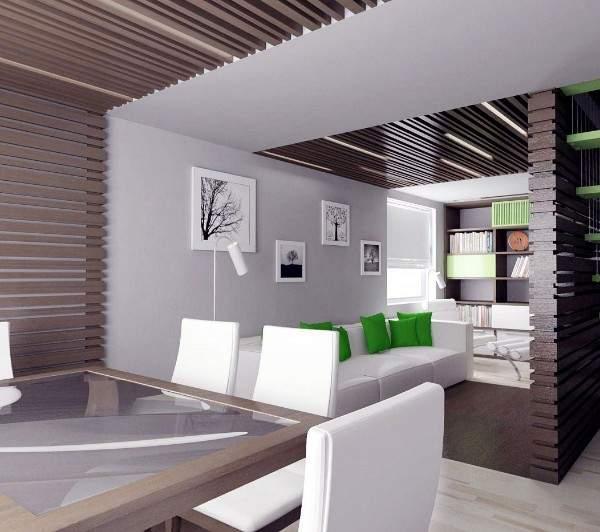 Интерьер маленького зала в частном доме в современном стиле минимализм