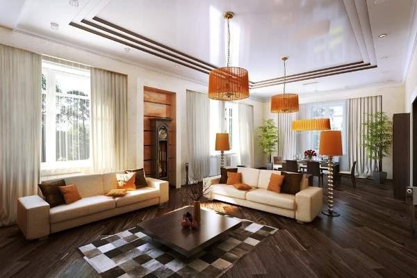 Интерьер зала в частном доме в современном стиле