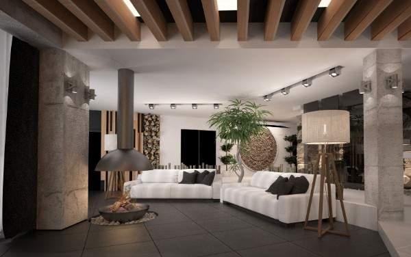 Интерьер зала в частном доме в сочетании современного стиля и кантри