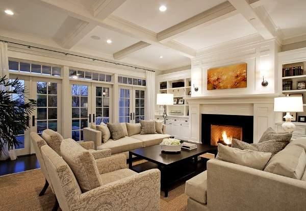 Дизайн гостиной в интерьере частного дома в современном стиле