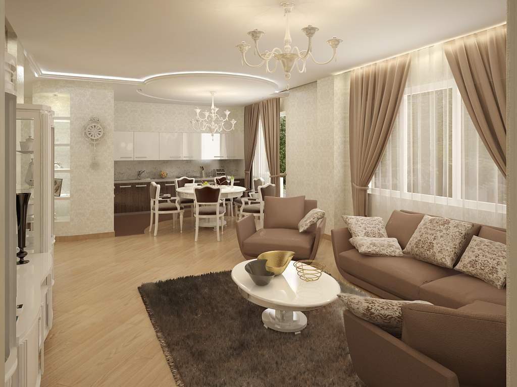 Дизайн кухни зала в квартире в классическом стиле