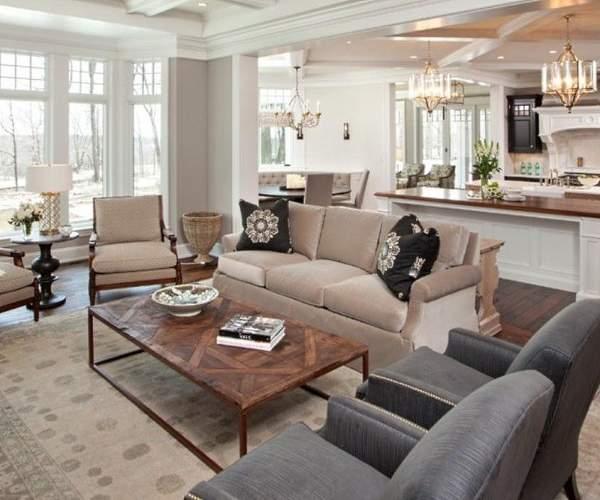 Идея дизайна гостиной в частном доме в стиле классика