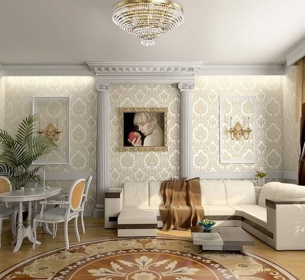 Классический дизайн гостиной в частном доме с лепным декором
