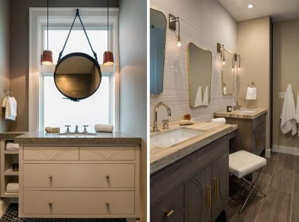 Как красиво сделать ванную комнату - фото мебели и зеркал в интерьере