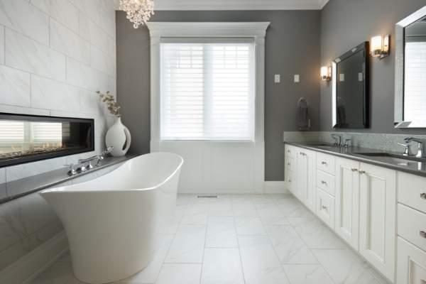 Как красиво сделать ванную комнату - фото камина в интерьере
