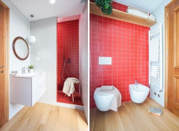 Как красиво сделать ванную комнату - фото плитки красного цвета
