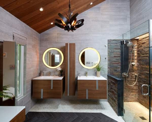 Красивые ванные комнаты - фото отделки деревом и камнем