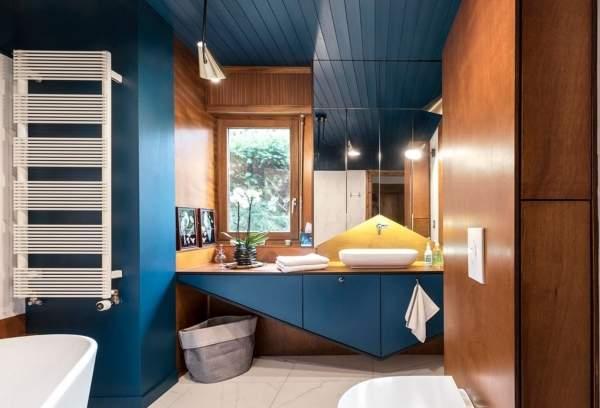 Красивые ванные комнаты - фото в темно-синем цвете