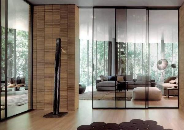 Стеклянные раздвижные двери и перегородки в современном интерьере
