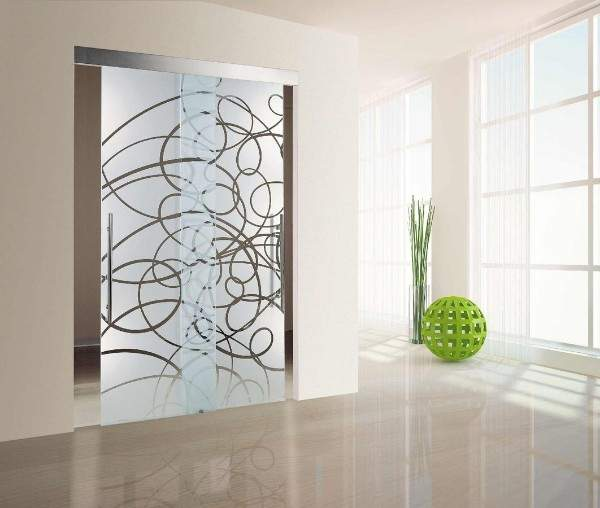 Стеклянные раздвижные двери - фото с рисунком в современном стиле