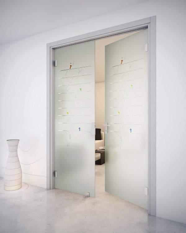 Двустворчатые стеклянные межкомнатные двери из матового стекла
