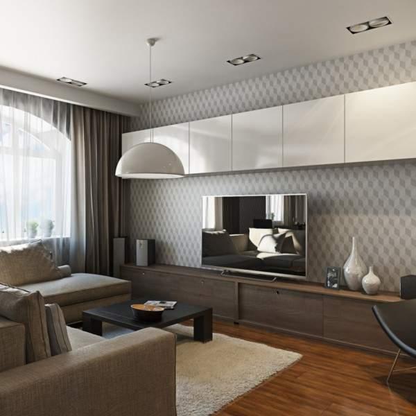 Дизайн зала в квартире в современном стиле - фото в нейтральных тонах