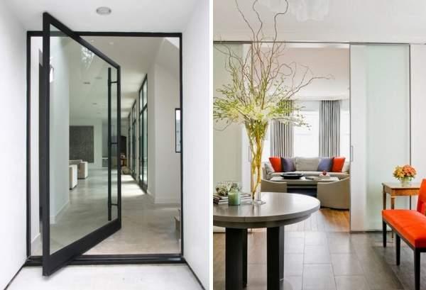 Межкомнатные стеклянные двери - виды и фото в интерьере