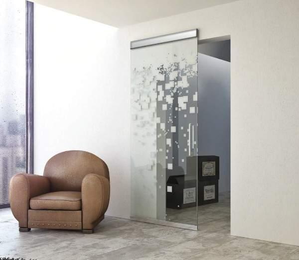 Раздвижные стеклянные межкомнатные двери с современным рисунком