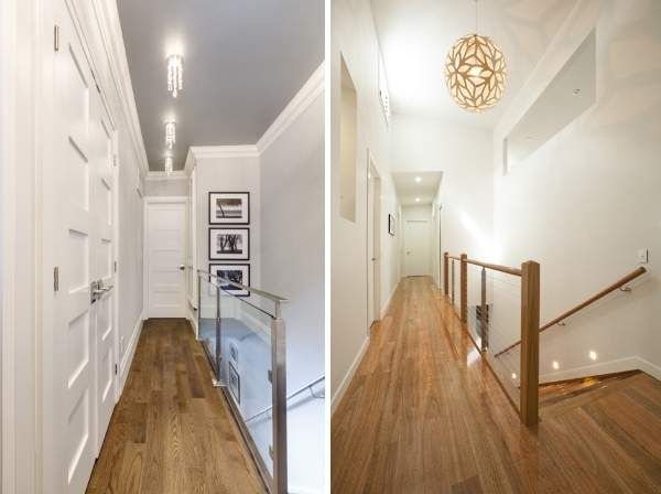 Современные идеи отделки коридора в дизайне второго этажа в частном доме