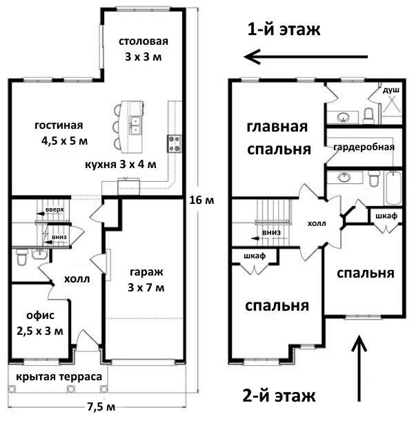 Виды вторых этажей в частном доме - готовый проект со спальнями наверху