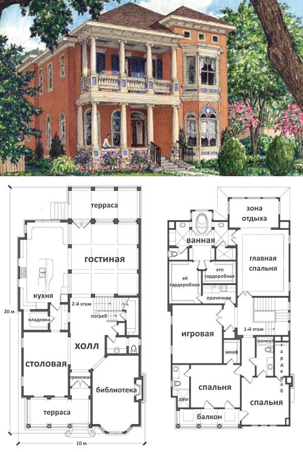 Планировка комнат первого и второго этажа в частном доме