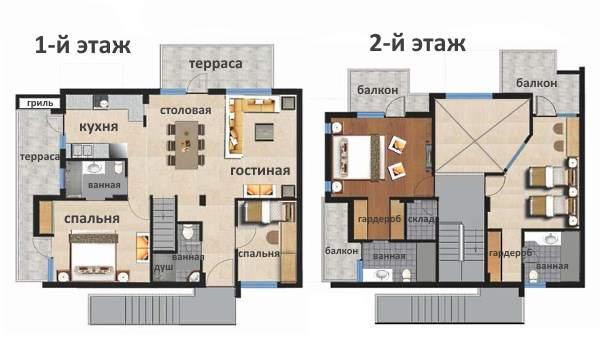Надстройка второго этажа в частном доме - схема планировки с балконами