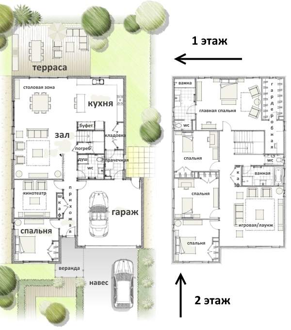 Как сделать второй этаж в частном доме - проект на 4 спальни и площадку для игр