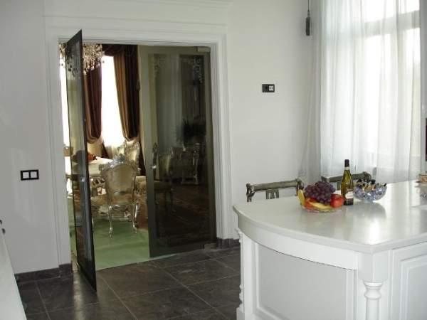 Стеклянные распашные двери для кухни с двумя створками