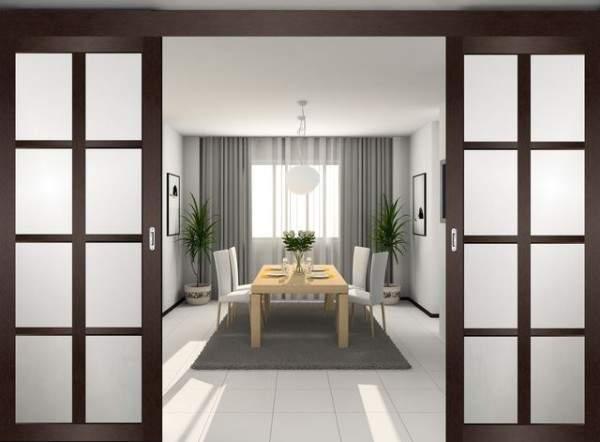 Элегантные раздвижные двери межкомнатные со стеклянными вставками