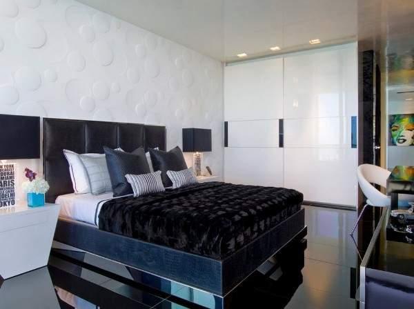 Элегантная современная спальня со шкафом купе