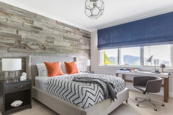 Красивый цвет детской комнаты - серый, оранжевый и синий
