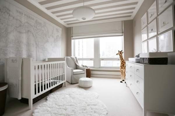 Сочетание цветов в детской комнате - белый и бежевый