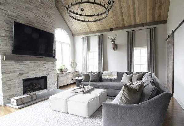 Красивый зал в своём доме - сочетание материалов и стилей в интерьре