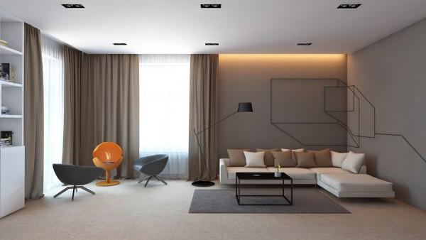 Стильный зал в своём доме - дизайн в стиле минимализм