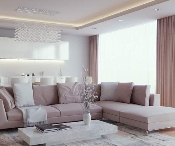 Красивый дизайн современной гостиной в частном доме