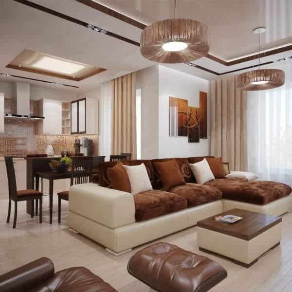 Современный дизайн гостиной в частном доме в белом и коричневом цвете