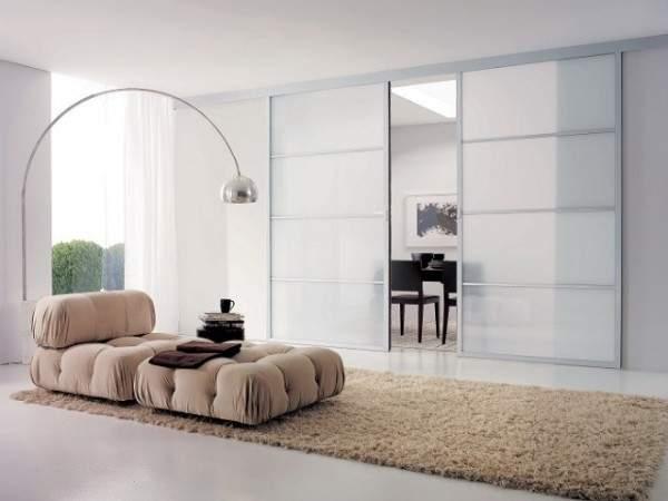 Раздвижные стеклянные межкомнатные двери из матового стекла