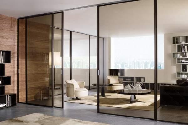 Стеклянные двери межкомнатные - фото перегородки в современном квартире