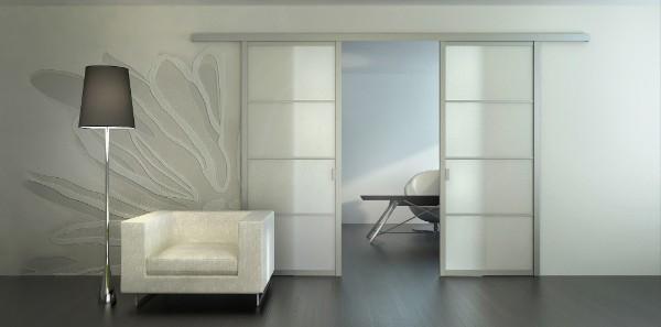 Сдвижные стеклянные двери межкомнатные белого цвета