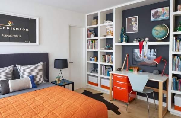 Сочетание цветов в интерьере детской комнаты - оранжевый и синий
