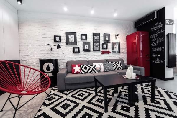 Современный дизайн зала в квартире в стиле лофт
