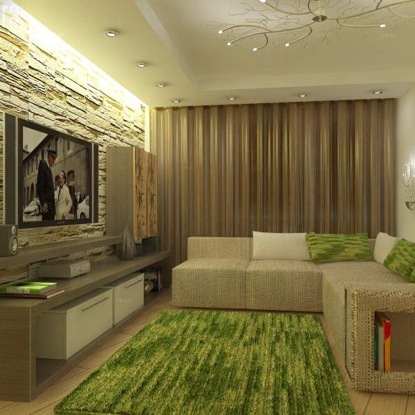 Современный дизайн зала в квартире в зеленом и бежевом цвете