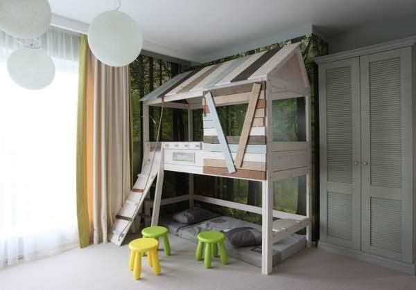 Зеленые и желтые цвета в интерьере детской комнаты